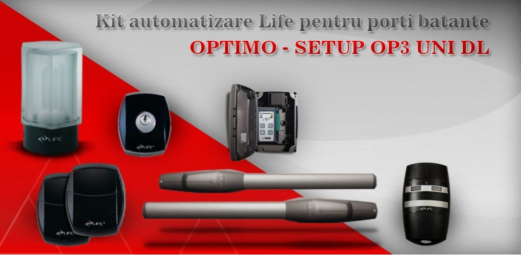 Kit automatizare poarta batanta Life OPTIMO - SETUP OP3 UNI DL